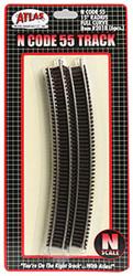 "Atlas N Scale Code 55 15"" Radius Curve 6-Pack Model Train Track"