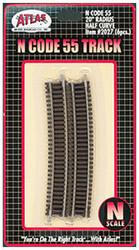 "Atlas N Scale Code 55 20"" Radius 1/2 Curve 6-Pack Model Train Track"