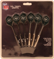 Set of 6 NFL New York Jets Steel Tip Darts & Flights with Team Logo