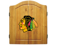 Imperial NHL Chicago Blackhawks Pine Wood Cabinet & Bristle Cone Dart Board - Factory Seconds