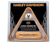 Harley-Davidson 3-Piece Wooden Pool/Billiard Table Starter Set