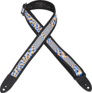 "Levy's MPS1-508  1.5""  Sonic Art Guitar/Bass Strap-Blue/Yellow Optical Illusion"