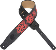 "Levy's MG3EP-005 2.5"" Leather Guitar Strap Embroidered Flowers/Sun-Black/Red"