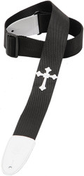 "Levy's DM5HC-BLK 2"" Poly Guitar/Bass Strap w/ Leather Cross - Black"