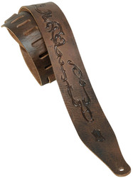 "Levy's M17DT10-DBR 2.5"" Distressed Leather Guitar/Bass Strap Tribal Design-Brown"