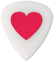 Pickboy Pink Love Heart on White Polyacetal Guitar/Bass Picks 1.00mm (10pk)