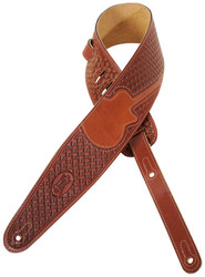 "Levy's M44TG 3"" Tooled ""Woven"" Leather Guitar/Bass Strap - Guitar Inlay - Brown"