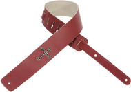 "Levy's DM7R-BRG 2.5"" Leather guitar/Bass Strap Rhinestone Cross- Burgundy"