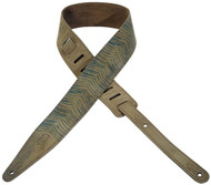"Levy's 2 1/2"" Urban Print Suede Leather Guitar/Bass Strap - Tan w/Blue Stripes"