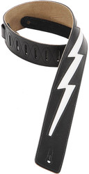 "Levy's DM2-BLK 2.5"" Leather Guitar/Bass Strap w/ White Lightning Bolt - Black"