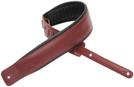 "Levy's DM1PD-BRG 3"" Classic Padded Leather Guitar/Bass Strap - Burgundy"