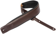 "Levy's DM1PD-DBR 3"" Classic Padded Leather Guitar/Bass Strap - Dark Brown"