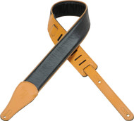 "Levy's M17CG-TAN 2.5"" Super-Soft Black Garment Leather Strap- Tan Piping & Ends"