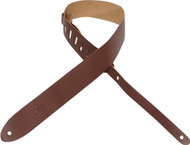 "Levy's M12-BRN 2"" Basic Leather Guitar/Bass Strap - Brown"
