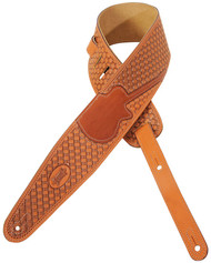 "Levy's M44TG 3"" Tooled ""Woven"" Leather Guitar/Bass Strap - Guitar Inlay - Tan"