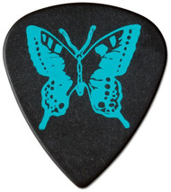 Pickboy Blue Butterfly on Black Polyacetal Guitar/Bass Picks 1.00mm (10pk)