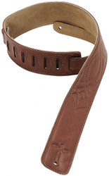 "Levy's DM1SG-BRN 2.5"" Leather Guitar/Bass Strap with Embroidery - Brown"
