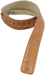 "Levy's DM1SG-TAN 2.5"" Leather Guitar/Bass Strap with Embroidery- Tan"