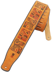 "Levy's 2 1/2"" Suede Leather Guitar/Bass Strap w/ Haida Totem Pole Print - Honey"