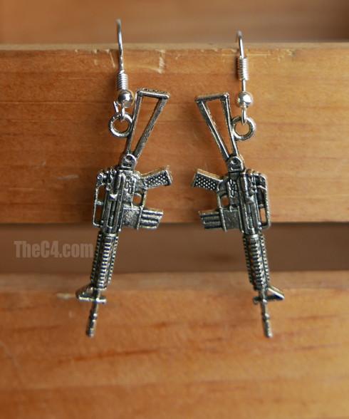 rifle charm earrings