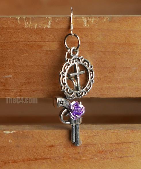 cross and gun earrings