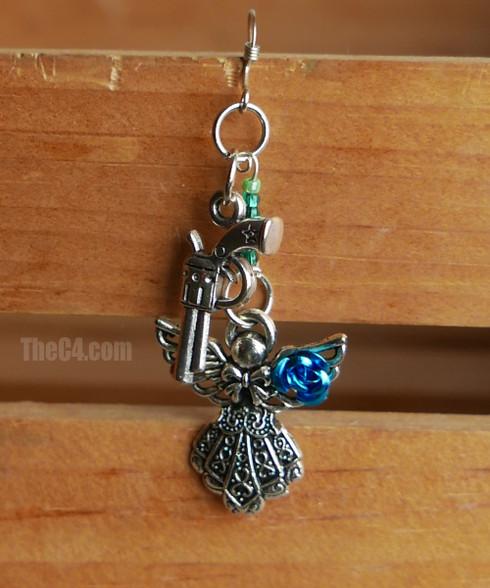 angel and gun charm earrings