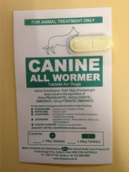 Canine All Wormer - 1 x 40kg Worming Tablet for Large Dogs