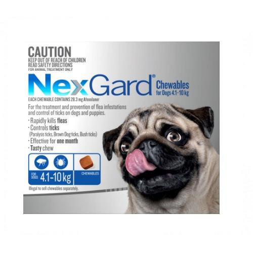 NexGard Flea and Tick Treatment for dogs in a tasty chew. 4.1-10kg small-medium dog