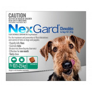 NexGard Flea and Tick treatment in a tasty chew for dogs medium to large 10.1 - 25 kg 6 Pack, FREE SHIPPING
