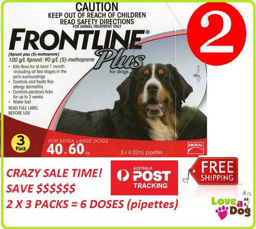 Frontline Plus for large dogs 40 - 60 kg ON SALE FREE POST