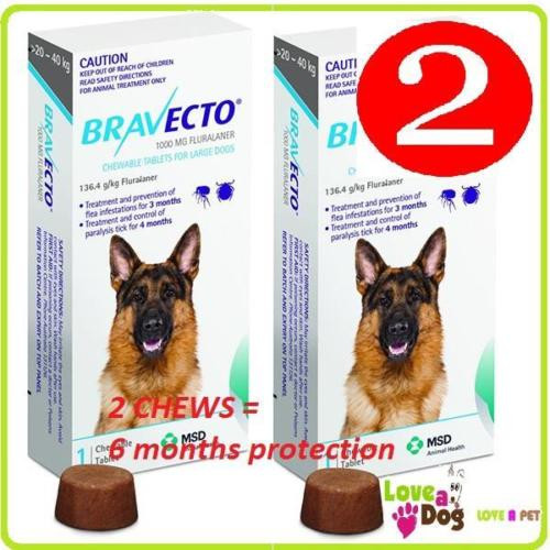 Bravecto Chews For Large Dogs 20-40kg 2 x chews