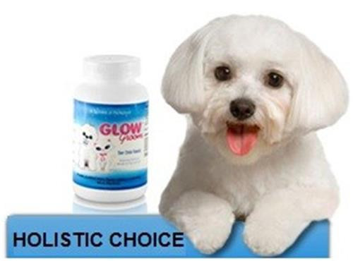 Glow Groom eliminates eye, muzzle and paw stains in dogs and cats.