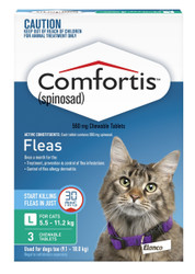 Comfortis Cat 5.5 - 11.2kg Chewable Flea Tablets 3 pack