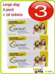 Valuheart Gold 3 pack = 18 tablets for Large Dog 21-40kg