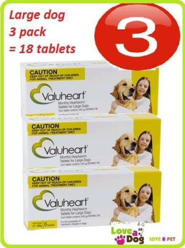 Valuheart Gold 3 pack = 18 tablets for Large Dog 21-40kg