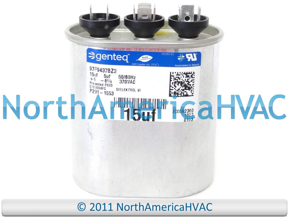Amrad Capacitor Dual Run Oval 15/5 15 0/5 0 uf MFD 370 VAC  VA2000/37(156+505)