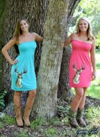 ONESIZE fits most strapless  Mint and Coral deer dress