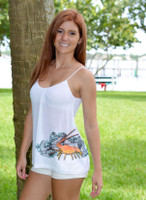Medium only Spiny Lobster White Spaghetti Strap Tank Top