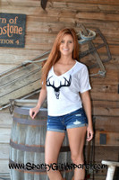 White relaxed fit velvet black Deer Skull top