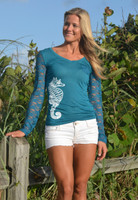 SMALL ONLY Seahorse lace back top
