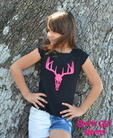 kids black shirt with neon pink deer skull