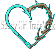 Mint Heart Hook and Antler decal