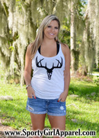 Gray black velvet deer skull tank top