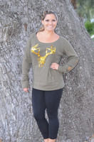 Womens Army Green Gold Sequin Buck Skull ongsleeve top