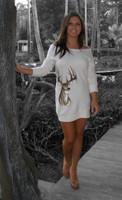 Cream Deer Sweater tunic /Dress