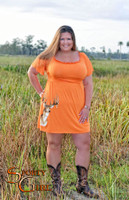 Women's Plus Size Country ORANGE Deer Dress
