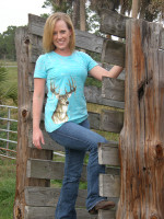 MEDIUMS only-Teal Burnout Deer Head Shirt