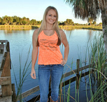Orange Slit back Gator skull tank top