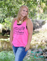 Loose fitting Pink racerback gator skull tank top