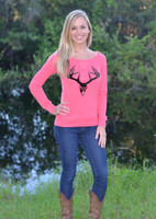 SPECIAL PRICE Coral lace back Velvet deer skull top